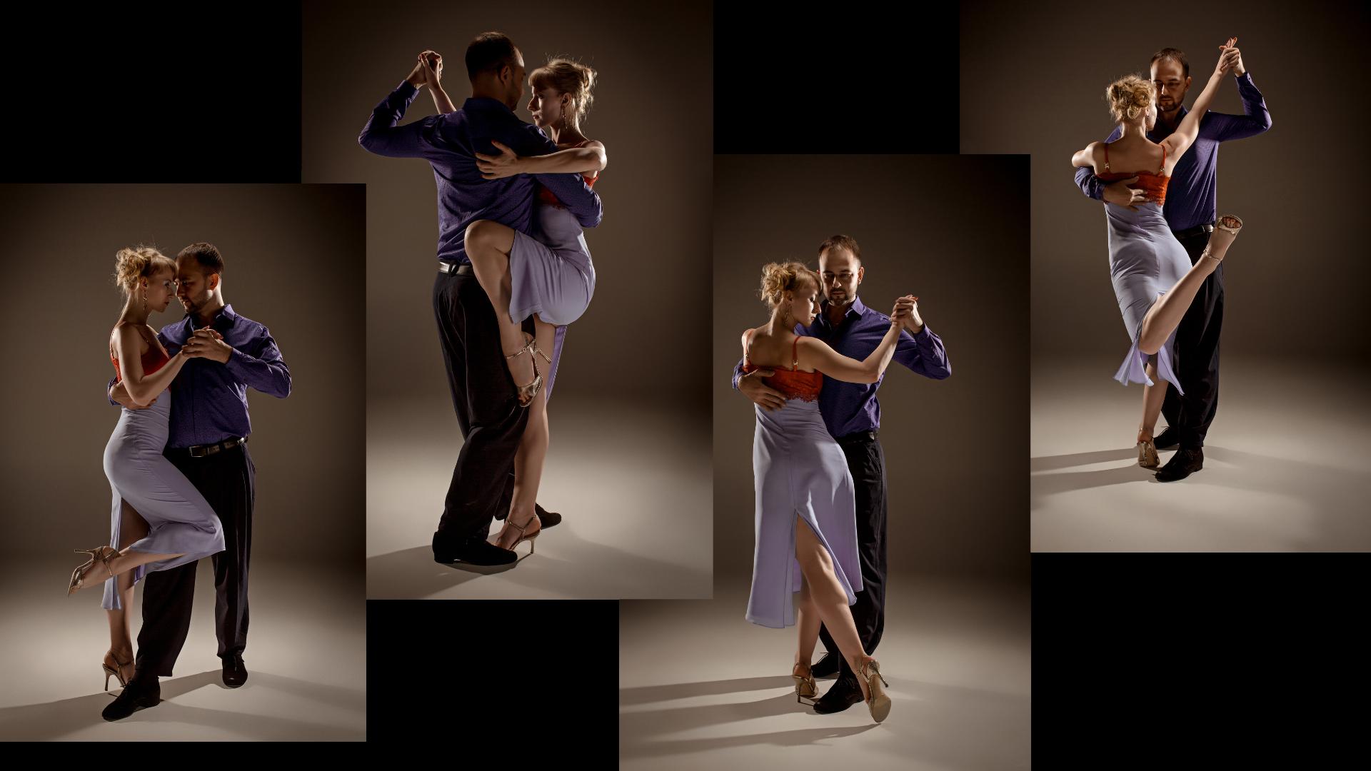 Varias imagines de una pareja bailado tango argentino